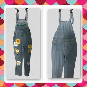 Misslook painted floral flower overall denim jeans